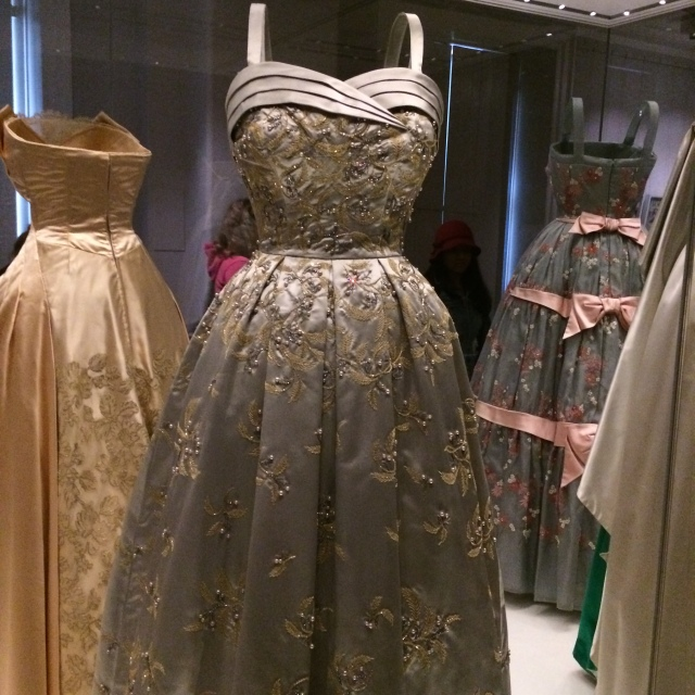 Hardy Amies gown worn by Queen Elizabeth to a formal dinner held at the German Embassy in London (1957/8).