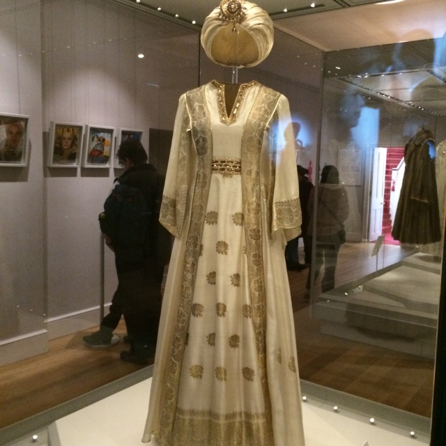 Carl Toms dress and turban, worn by Princess Margaret in Mustique (1976).