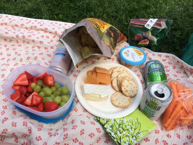 Our impromptu picnic -- we had an obscene amount of cheese in the fridge we needed to get rid of (not pictured: blue cheese brie, aka cambozola). I promise we eat vegetables.