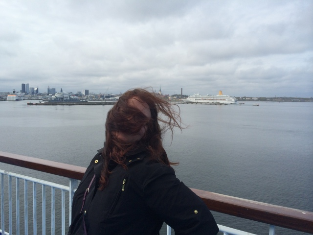 It was really windy and cold. I think I'm wearing three layers under my rain jacket.
