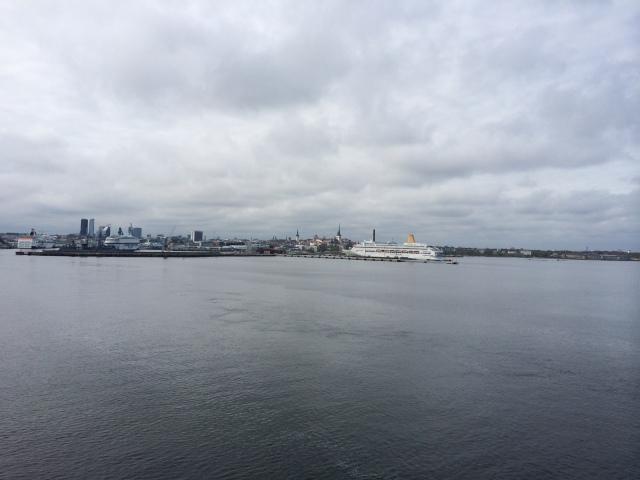 Our first glimpse of Tallinn.